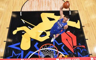 ATLANTA, GA - MARCH 7: Zach LaVine #8 of Team Durant dunks the ball against Team LeBron during the 70th NBA All Star Game as part of 2021 NBA All Star Weekend on March 7, 2021 at State Farm Arena in Atlanta, Georgia. NOTE TO USER: User expressly acknowledges and agrees that, by downloading and or using this photograph, User is consenting to the terms and conditions of the Getty Images License Agreement. Mandatory Copyright Notice: Copyright 2021 NBAE (Photo by Jesse D. Garrabrant/NBAE via Getty Images)