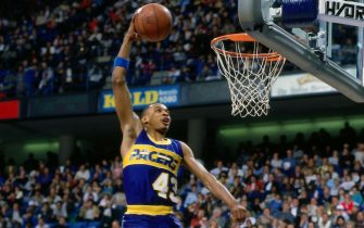 INDIANAPOLIS - FEBRUARY 9:  Terence Stansbury#43 of the Indiana Pacers goes up for a slam dunk during the slam dunk contest during the 1985 NBA All-Star Weekend at the Market Square Arena on February 9, 1985 in Indianapolis, Indiana.  West 140  vs East 129. NOTE TO USER: User expressly acknowledges and agrees that, by downloading and or using this Photograph, user is consenting to the terms and conditions of the Getty Images License Agreement.  Mandatory Copyright Notice: Copyright 1985 NBAE (Photo by Nathaniel S. Butler/NBAE via Getty Images)