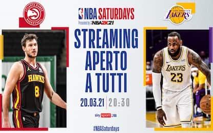 Lakers-Hawks alle 20.30 in streaming su Sky Sport