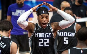 DETROIT, MICHIGAN - FEBRUARY 26: Richaun Holmes #22 of the Sacramento Kings reacts during the fourth quarter against the Detroit Pistons at Little Caesars Arena on February 26, 2021 in Detroit, Michigan. NOTE TO USER: User expressly acknowledges and agrees that, by downloading and or using this photograph, User is consenting to the terms and conditions of the Getty Images License Agreement. (Photo by Nic Antaya/Getty Images)
