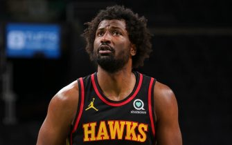 BOSTON, MA - FEBRUARY 19: Solomon Hill #18 of the Atlanta Hawks shoots a free throw during the game against the Boston Celtics on February 19, 2021 at the TD Garden in Boston, Massachusetts.  NOTE TO USER: User expressly acknowledges and agrees that, by downloading and or using this photograph, User is consenting to the terms and conditions of the Getty Images License Agreement. Mandatory Copyright Notice: Copyright 2021 NBAE  (Photo by Nathaniel S. Butler/NBAE via Getty Images)
