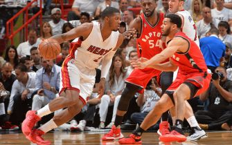 MIAMI,FL - MAY 13 :  Joe Johnson #2 of the Miami Heat drives to the basket against the Toronto Raptors during the Eastern Conference playoffs Semifinals Game Six on May 13, 2016 at the American Airlines Arena in Miami, Florida. NOTE TO USER: User expressly acknowledges and agrees that, by downloading and/or using this Photograph, user is consenting to the terms and conditions of the Getty Images License Agreement. Mandatory Copyright Notice: Copyright 2016 NBAE (Photo by Jesse D. Garrabrant/NBAE via Getty Images)