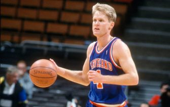 MILWAUKEE, WI - CIRCA 1991:  Steve Kerr #5 of the Cleveland Cavaliers dribbles the ball up court against the Milwaukee Bucks during an NBA basketball game circa 1991 at the MECCA Arena in Milwaukee, Wisconsin. Kerr played for the Cavaliers from 1989-92. (Photo by Focus on Sport/Getty Images) *** Local Caption *** Steve Kerr