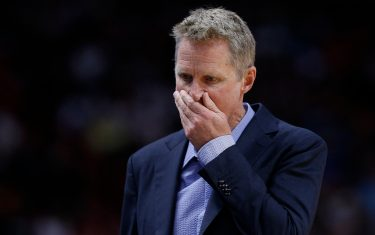 MIAMI, FLORIDA - NOVEMBER 29:  Head coach Steve Kerr of the Golden State Warriors reacts against the Miami Heat during the first half at American Airlines Arena on November 29, 2019 in Miami, Florida. NOTE TO USER: User expressly acknowledges and agrees that, by downloading and/or using this photograph, user is consenting to the terms and conditions of the Getty Images License Agreement. (Photo by Michael Reaves/Getty Images)