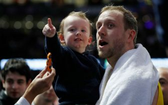 MELBOURNE, AUSTRALIA - AUGUST 24: Joe Ingles of the Boomers and son Jacob are seen during game two of the International Basketball series between the Australian Boomers and United States of America at Marvel Stadium on August 24, 2019 in Melbourne, Australia. (Photo by Daniel Pockett/Getty Images)