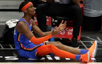 LOS ANGELES, CALIFORNIA - JANUARY 22: Shai Gilgeous-Alexander #2 of the Oklahoma City Thunder reacts to a play during the third quarter against the Los Angeles Clippers at Staples Center on January 22, 2021 in Los Angeles, California. NOTE TO USER: User expressly acknowledges and agrees that, by downloading and or using this Photograph, user is consenting to the terms and conditions of the Getty Images License Agreement. (Photo by Katelyn Mulcahy/Getty Images)