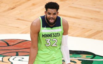 BOSTON, MA - APRIL 9: Karl Anthony Towns #32 of the Minnesota Timberwolves yells at an official during a game against the Boston Celtics in the first half at TD Garden on April 9, 2021 in Boston, Massachusetts. NOTE TO USER: User expressly acknowledges and agrees that, by downloading and or using this photograph, User is consenting to the terms and conditions of the Getty Images License Agreement. (Photo by Kathryn Riley/Getty Images)  *** Local Caption *** Karl Anthony Towns