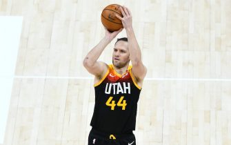 SALT LAKE CITY, UTAH - APRIL 12: Bojan Bogdanovic #44 of the Utah Jazz shoots during a game against the Washington Wizards at Vivint Smart Home Arena on April 12, 2021 in Salt Lake City, Utah. NOTE TO USER: User expressly acknowledges and agrees that, by downloading and/or using this photograph, user is consenting to the terms and conditions of the Getty Images License Agreement.  (Photo by Alex Goodlett/Getty Images)