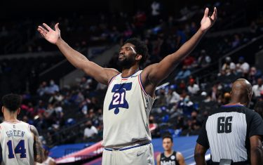PHILADELPHIA, PA - APRIL 14: Joel Embiid #21 of the Philadelphia 76ers reacts during a game against the Brooklyn Nets on April 14, 2021 at Wells Fargo Center in Philadelphia, Pennsylvania. NOTE TO USER: User expressly acknowledges and agrees that, by downloading and/or using this Photograph, user is consenting to the terms and conditions of the Getty Images License Agreement. Mandatory Copyright Notice: Copyright 2021 NBAE (Photo by David Dow/NBAE via Getty Images)