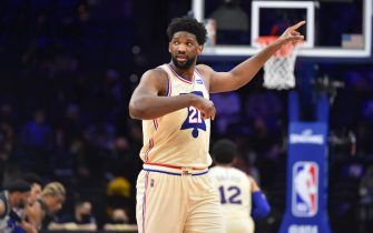 PHILADELPHIA, PA - APRIL 14: Joel Embiid #21 of the Philadelphia 76ers reacts during a game against the Brooklyn Nets on April 14, 2021 at Wells Fargo Center in Philadelphia, Pennsylvania. NOTE TO USER: User expressly acknowledges and agrees that, by downloading and/or using this Photograph, user is consenting to the terms and conditions of the Getty Images License Agreement. Mandatory Copyright Notice: Copyright 2021 NBAE (Photo by Jesse D. Garrabrant/NBAE via Getty Images)