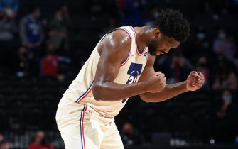 PHILADELPHIA, PA - APRIL 16: Joel Embiid #21 of the Philadelphia 76ers reacts during a game against the LA Clippers on April 16, 2021 at Wells Fargo Center in Philadelphia, Pennsylvania. NOTE TO USER: User expressly acknowledges and agrees that, by downloading and/or using this Photograph, user is consenting to the terms and conditions of the Getty Images License Agreement. Mandatory Copyright Notice: Copyright 2021 NBAE (Photo by David Dow/NBAE via Getty Images)