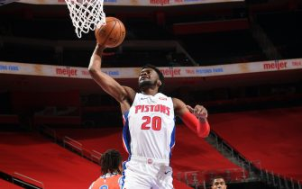 DETROIT, MI -  APRIL 16: Josh Jackson #20 of the Detroit Pistons shoots the ball against the Oklahoma City Thunder on April 16, 2021 at Little Caesars Arena in Detroit, Michigan. NOTE TO USER: User expressly acknowledges and agrees that, by downloading and/or using this photograph, User is consenting to the terms and conditions of the Getty Images License Agreement. Mandatory Copyright Notice: Copyright 2021 NBAE (Photo by Chris Schwegler/NBAE via Getty Images)