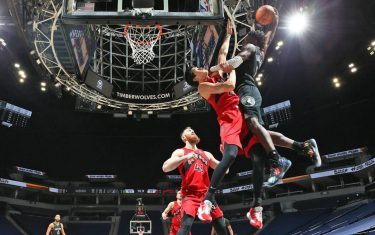 MINNEAPOLIS, MN -  FEBRUARY 19: Anthony Edwards #1 of the Minnesota Timberwolves dunks the ball during the game against the Toronto Raptors on February 19, 2021 at Target Center in Minneapolis, Minnesota. NOTE TO USER: User expressly acknowledges and agrees that, by downloading and or using this Photograph, user is consenting to the terms and conditions of the Getty Images License Agreement. Mandatory Copyright Notice: Copyright 2021 NBAE (Photo by David Sherman/NBAE via Getty Images)
