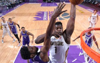 SACRAMENTO, CA - JANUARY 17: Zion Williamson #1 of the New Orleans Pelicans dunks the ball against the Sacramento Kings on January 17, 2021 at Golden 1 Center in Sacramento, California. NOTE TO USER: User expressly acknowledges and agrees that, by downloading and or using this Photograph, user is consenting to the terms and conditions of the Getty Images License Agreement. Mandatory Copyright Notice: Copyright 2021 NBAE (Photo by Rocky Widner/NBAE via Getty Images)