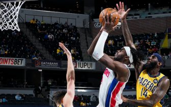 INDIANAPOLIS, IN - APRIL 23: Jerami Grant #9 of the Detroit Pistons drives to the basket during the game against the Indiana Pacers on April 23, 2021 at Bankers Life Fieldhouse in Indianapolis, Indiana. NOTE TO USER: User expressly acknowledges and agrees that, by downloading and or using this Photograph, user is consenting to the terms and conditions of the Getty Images License Agreement. Mandatory Copyright Notice: Copyright 2021 NBAE (Photo by Ron Hoskins/NBAE via Getty Images)