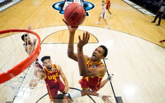 INDIANAPOLIS, IN - MARCH 30: Evan Mobley #4 of the USC Trojans drives to the basket against the Gonzaga Bulldogs in the Elite Eight round of the 2021 NCAA Division I Men's Basketball Tournament held at Lucas Oil Stadium on March 30, 2021 in Indianapolis, Indiana. (Photo by Jack Dempsey/NCAA Photos via Getty Images)