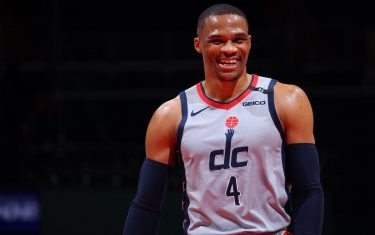 WASHINGTON, DC - APRIL 28: Russell Westbrook #4 of the Washington Wizards smiles during the game against the Los Angeles Lakers on April 28, 2021 at Capital One Arena in Washington, DC. NOTE TO USER: User expressly acknowledges and agrees that, by downloading and or using this Photograph, user is consenting to the terms and conditions of the Getty Images License Agreement. Mandatory Copyright Notice: Copyright 2021 NBAE (Photo by Ned Dishman/NBAE via Getty Images)
