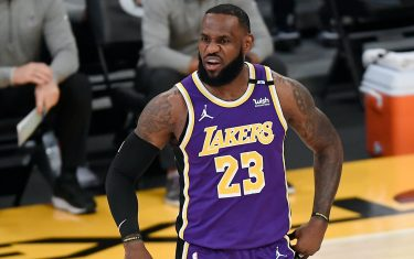 LOS ANGELES, CA - APRIL 30: LeBron James #23 of the Los Angeles Lakers reacts during the first half against the  Sacramento Kings at Staples Center on April 30, 2021 in Los Angeles, California. NOTE TO USER: User expressly acknowledges and agrees that, by downloading and or using this photograph, User is consenting to the terms and conditions of the Getty Images License Agreement. (Photo by Kevork Djansezian/Getty Images)