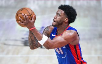 DETROIT, MICHIGAN - APRIL 29: Saddiq Bey #41 of the Detroit Pistons shoots the ball against the Dallas Mavericks during the third quarter of the NBA game at Little Caesars Arena on April 29, 2021 in Detroit, Michigan. NOTE TO USER: User expressly acknowledges and agrees that, by downloading and or using this photograph, User is consenting to the terms and conditions of the Getty Images License Agreement. (Photo by Nic Antaya/Getty Images)