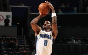 CHARLOTTE, NC - MAY 7: Dwayne Bacon #8 of the Orlando Magic shoots a three point basket during the game against the Charlotte Hornets on May 7, 2021 at Spectrum Center in Charlotte, North Carolina. NOTE TO USER: User expressly acknowledges and agrees that, by downloading and or using this photograph, User is consenting to the terms and conditions of the Getty Images License Agreement. Mandatory Copyright Notice: Copyright 2021 NBAE (Photo by Kent Smith/NBAE via Getty Images)