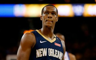 OAKLAND, CA - APRIL 28: Rajon Rondo #9 of the New Orleans Pelicans looks on during Game One of the Western Conference Semifinals against the Golden State Warriors at ORACLE Arena on April 28, 2018 in Oakland, California. NOTE TO USER: User expressly acknowledges and agrees that, by downloading and or using this photograph, User is consenting to the terms and conditions of the Getty Images License Agreement. (Photo by Lachlan Cunningham/Getty Images)