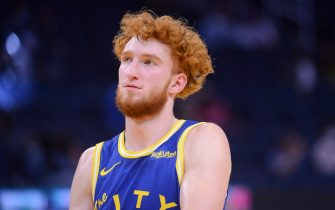 SAN FRANCISCO, CA - APRIL 27: Nico Mannion #2 of the Golden State Warriors looks on during the game against the Dallas Mavericks on April 27, 2021 at Chase Center in San Francisco, California. NOTE TO USER: User expressly acknowledges and agrees that, by downloading and or using this photograph, user is consenting to the terms and conditions of Getty Images License Agreement. Mandatory Copyright Notice: Copyright 2021 NBAE (Photo by Noah Graham/NBAE via Getty Images)