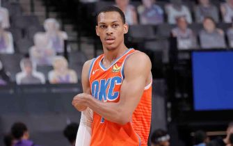 SACRAMENTO, CA - MAY 9: Darius Bazley #7 of the Oklahoma City Thunder looks on during the game against the Sacramento Kings on May 9, 2021 at Golden 1 Center in Sacramento, California. NOTE TO USER: User expressly acknowledges and agrees that, by downloading and or using this Photograph, user is consenting to the terms and conditions of the Getty Images License Agreement. Mandatory Copyright Notice: Copyright 2021 NBAE (Photo by Rocky Widner/NBAE via Getty Images)