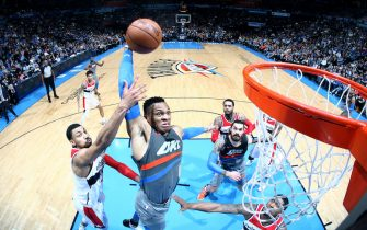 OKLAHOMA CITY, OK- JANUARY 25: Russell Westbrook #0 of the Oklahoma City Thunder dunks the ball during the game against the Washington Wizards on January 25, 2018 at Chesapeake Energy Arena in Oklahoma City, Oklahoma. NOTE TO USER: User expressly acknowledges and agrees that, by downloading and or using this photograph, User is consenting to the terms and conditions of the Getty Images License Agreement. Mandatory Copyright Notice: Copyright 2018 NBAE (Photo by Layne Murdoch Sr./NBAE via Getty Images)
