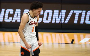 INDIANAPOLIS, IN - MARCH 21: Cade Cunningham #2 of the Oklahoma State Cowboys reacts against the Oregon State Beavers during the second half in the second round of the 2021 NCAA Division I Mens Basketball Tournament held at Hinkle Fieldhouse on March 21, 2021 in Indianapolis, Indiana. (Photo by C. Morgan Engel/NCAA Photos via Getty Images)
