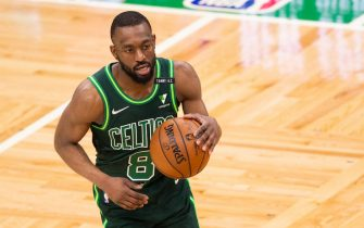 BOSTON, MA - MAY 11: Kemba Walker #8 of the Boston Celtics dribbles the ball against the Miami Heat in the second half at TD Garden on May 11, 2021 in Boston, Massachusetts. NOTE TO USER: User expressly acknowledges and agrees that, by downloading and or using this photograph, User is consenting to the terms and conditions of the Getty Images License Agreement. (Photo by Kathryn Riley/Getty Images)