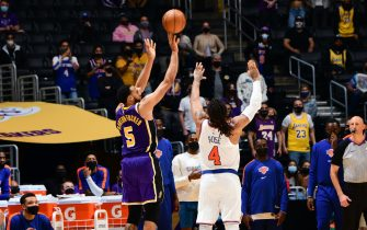 LOS ANGELES, CA - MAY 10: Talen Horton-Tucker #5 of the Los Angeles Lakers shoots a three point basket to win the game against the New York Knicks on May 10, 2021 at STAPLES Center in Los Angeles, California. NOTE TO USER: User expressly acknowledges and agrees that, by downloading and/or using this Photograph, user is consenting to the terms and conditions of the Getty Images License Agreement. Mandatory Copyright Notice: Copyright 2021 NBAE (Photo by Adam Pantozzi/NBAE via Getty Images)