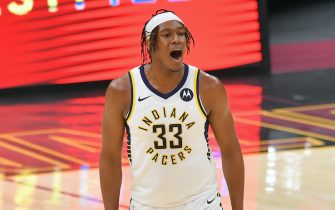 CLEVELAND, OHIO - MARCH 03: Myles Turner #33 of the Indiana Pacers reacts after scoring during the third quarter against the Cleveland Cavaliers at Rocket Mortgage Fieldhouse on March 03, 2021 in Cleveland, Ohio. NOTE TO USER: User expressly acknowledges and agrees that, by downloading and/or using this photograph, user is consenting to the terms and conditions of the Getty Images License Agreement. (Photo by Jason Miller/Getty Images)