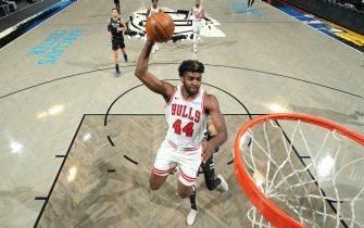 BROOKLYN, NY - MAY 15: Patrick Williams #44 of the Chicago Bulls dunks the ball during the game against the Brooklyn Nets on May 15, 2021 at Barclays Center in Brooklyn, New York. NOTE TO USER: User expressly acknowledges and agrees that, by downloading and or using this Photograph, user is consenting to the terms and conditions of the Getty Images License Agreement. Mandatory Copyright Notice: Copyright 2021 NBAE (Photo by Nathaniel S. Butler/NBAE via Getty Images)