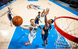 OKLAHOMA CITY, OK - MAY 14: Bojan Bogdanovic #44 of the Utah Jazz shoots the ball during the game against the Oklahoma City Thunder on May 14, 2021 at Chesapeake Energy Arena in Oklahoma City, Oklahoma. NOTE TO USER: User expressly acknowledges and agrees that, by downloading and or using this photograph, User is consenting to the terms and conditions of the Getty Images License Agreement. Mandatory Copyright Notice: Copyright 2021 NBAE (Photo by Zach Beeker/NBAE via Getty Images)