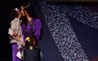 UNCASVILLE, CONNECTICUT - MAY 15:  Vanessa Bryant holds her daughter Capri following the 2021 Basketball Hall of Fame Enshrinement Ceremony at Mohegan Sun Arena on May 15, 2021 in Uncasville, Connecticut. (Photo by Maddie Meyer/Getty Images)