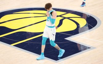 INDIANAPOLIS, INDIANA - MAY 18:   LaMelo Ball #2 of the Charlotte Hornets reacts after a turnover against the Indiana during the 2021 NBA Play-In Tournament at Bankers Life Fieldhouse on May 18, 2021 in Indianapolis, Indiana.    NOTE TO USER: User expressly acknowledges and agrees that, by downloading and or using this photograph, User is consenting to the terms and conditions of the Getty Images License Agreement. (Photo by Andy Lyons/Getty Images)