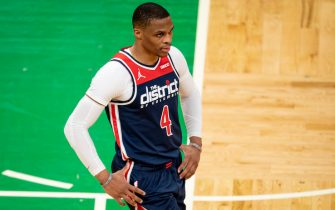 BOSTON, MASSACHUSETTS - MAY 18: Russell Westbrook #4 of the Washington Wizards reacts during the second half of a game in the play-in tournament against the Boston Celtics at TD Garden on May 18, 2021 in Boston, Massachusetts. NOTE TO USER: User expressly acknowledges and agrees that, by downloading and or using this photograph, User is consenting to the terms and conditions of the Getty Images License Agreement. (Photo by Maddie Malhotra/Getty Images)