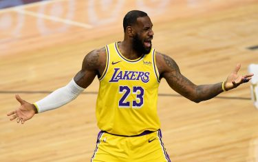 MINNEAPOLIS, MINNESOTA - FEBRUARY 16: LeBron James #23 of the Los Angeles Lakers reacts during the first quarter of the game against the Minnesota Timberwolves at Target Center on February 16, 2021 in Minneapolis, Minnesota. NOTE TO USER: User expressly acknowledges and agrees that, by downloading and or using this Photograph, user is consenting to the terms and conditions of the Getty Images License Agreement (Photo by Hannah Foslien/Getty Images)