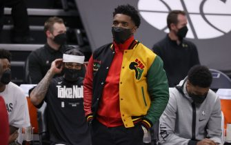 SALT LAKE CITY, UT - MAY 23: Donovan Mitchell #45 of the Utah Jazz looks on during the game against the Memphis Grizzlies during Round 1, Game 1 of the 2021 NBA Playoffs on May 23, 2021 at vivint.SmartHome Arena in Salt Lake City, Utah. NOTE TO USER: User expressly acknowledges and agrees that, by downloading and or using this Photograph, User is consenting to the terms and conditions of the Getty Images License Agreement. Mandatory Copyright Notice: Copyright 2021 NBAE (Photo by Melissa Majchrzak/NBAE via Getty Images)