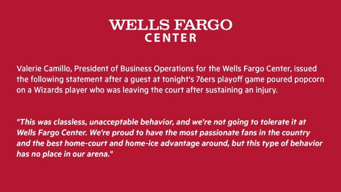 Il comunicato del Wells Fargo Center