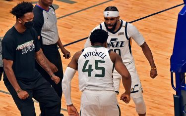 MEMPHIS, TENNESSEE - MAY 29: Mike Conley #10 of the Utah Jazz reacts during the second half with Donovan Mitchell #45 in Game Three of the Western Conference playoffs first round series on May 29, 2021 at FedExForum in Memphis, Tennessee. NOTE TO USER: User expressly acknowledges and agrees that, by downloading and or using this photograph, User is consenting to the terms and conditions of the Getty Images License Agreement. (Photo by Justin Ford/Getty Images)