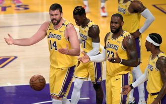 LOS ANGELES, CALIFORNIA - JUNE 03: Marc Gasol #14 and LeBron James #23 of the Los Angeles Lakers argue a Gasol foul in the third quarter during against the Phoenix Suns game six of the Western Conference first round series at Staples Center on June 03, 2021 in Los Angeles, California. (Photo by Harry How/Getty Images) NOTE TO USER: User expressly acknowledges and agrees that, by downloading and or using this photograph, User is consenting to the terms and conditions of the Getty Images License Agreement.