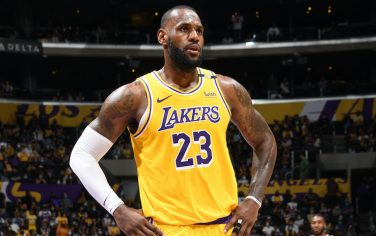 LOS ANGELES, CA - JUNE 3: LeBron James #23 of the Los Angeles Lakers looks on during Round 1, Game 6 of the 2021 NBA Playoffs on June 3, 2021 at STAPLES Center in Los Angeles, California. NOTE TO USER: User expressly acknowledges and agrees that, by downloading and/or using this Photograph, user is consenting to the terms and conditions of the Getty Images License Agreement. Mandatory Copyright Notice: Copyright 2021 NBAE (Photo by Andrew D. Bernstein/NBAE via Getty Images)