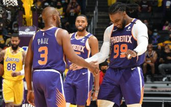LOS ANGELES, CA - JUNE 3: Chris Paul #3 of the Phoenix Suns high fives Jae Crowder #99 of the Phoenix Suns during Round 1, Game 6 of the 2021 NBA Playoffs on June 3, 2021 at STAPLES Center in Los Angeles, California. NOTE TO USER: User expressly acknowledges and agrees that, by downloading and/or using this Photograph, user is consenting to the terms and conditions of the Getty Images License Agreement. Mandatory Copyright Notice: Copyright 2021 NBAE (Photo by Andrew D. Bernstein/NBAE via Getty Images)