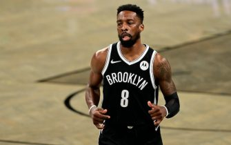 during Game One of the first round of the NBA playoffs at Barclays Center in Brooklyn, New York on Saturday, May 22, 2021. Boston Celtics v Brooklyn Nets - Game One.