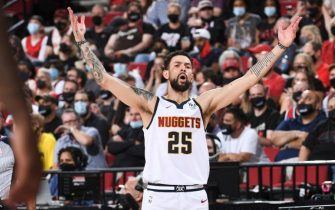 PORTLAND, OR - JUNE 3: Austin Rivers #25 of the Denver Nuggets reacts to a play during the game against the Portland Trail Blazers during Round 1, Game 6 of the 2021 NBA Playoffs on June 3, 2021 at the Moda Center Arena in Portland, Oregon. NOTE TO USER: User expressly acknowledges and agrees that, by downloading and/or using this Photograph, user is consenting to the terms and conditions of the Getty Images License Agreement. Mandatory Copyright Notice: Copyright 2021 NBAE (Photo by Garrett Ellwood/NBAE via Getty Images)