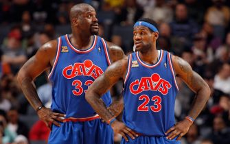 CHARLOTTE, NC - FEBRUARY 19:  (L-R) Shaquille O'Neal #33 and LeBron James #23 of the Cleveland Cavaliers stand on the court during the game against the Charlotte Bobcats on February 19, 2010 at Time Warner Cable Arena in Charlotte, North Carolina.  The Bobcats won 110-93.  NOTE TO USER: User expressly acknowledges and agrees that, by downloading and/or using this Photograph, user is consenting to the terms and conditions of the Getty Images License Agreement. Mandatory Copyright Notice: Copyright 2010 NBAE   (Photo by Kent Smith/NBAE via Getty Images)