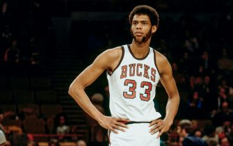 MILWAUKEE - 1971:  Kareem Abdul-Jabbar #33 of Milwaukee Bucks looks on during a game circa 1971  at the MECCA Arena in Milwaukee, Wisconsin. NOTE TO USER: User expressly acknowledges that, by downloading and or using this photograph, User is consenting to the terms and conditions of the Getty Images License agreement. Mandatory Copyright Notice: Copyright 1971 NBAE (Photo by Vernon Biever/NBAE via Getty Images)