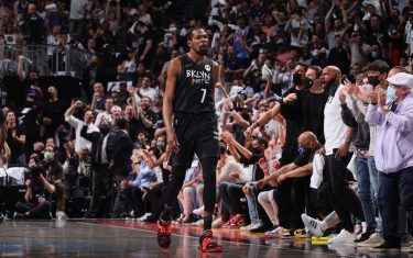 BROOKLYN, NY - JUNE 7: Kevin Durant #7 of the Brooklyn Nets celebrates during Round 2, Game 2 of the 2021 NBA Playoffs on June 7, 2021 at Barclays Center in Brooklyn, New York. NOTE TO USER: User expressly acknowledges and agrees that, by downloading and or using this Photograph, user is consenting to the terms and conditions of the Getty Images License Agreement. Mandatory Copyright Notice: Copyright 2021 NBAE (Photo by Nathaniel S. Butler/NBAE via Getty Images)