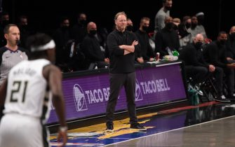 BROOKLYN, NY - JUNE 7: Head Coach Mike Budenholzer of the Milwaukee Bucks looks on during Round 2, Game 2 on June 7, 2021 at Barclays Center in Brooklyn, New York. NOTE TO USER: User expressly acknowledges and agrees that, by downloading and/or using this Photograph, user is consenting to the terms and conditions of the Getty Images License Agreement. Mandatory Copyright Notice: Copyright 2021 NBAE (Photo by David Dow/NBAE via Getty Images)